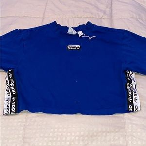 Adidas blue crop top XS with adidas logo in sides